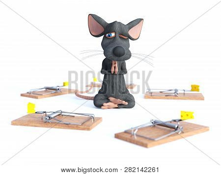 3d Rendering Of Cartoon Mouse Doing Yoga, Sitting In A Lotus Pose With Hands In A Praying Pose And M