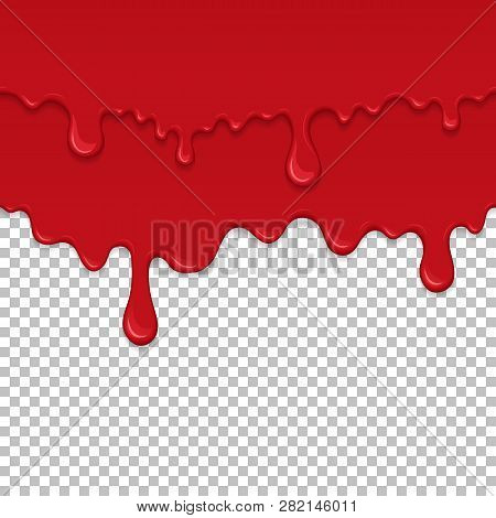 Red Sticky Liquid Seamless Element. Realistic Dripping Slime Isolated Object. Bloody Background With