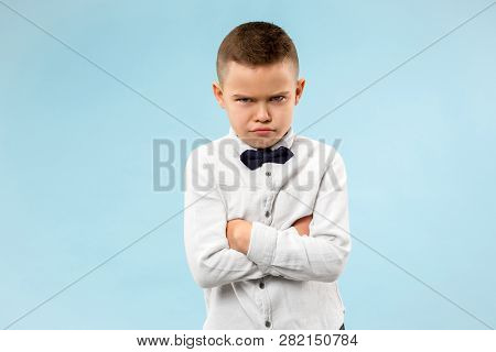 Screaming, Hate, Rage. Crying Emotional Angry Teen Boy On Blue Studio Background. Emotional, Young F