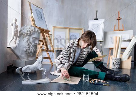 Modern Young Freelancer Artist Sculptor Woman Female Creates New Art Masterpiece Drawing Sketch At A