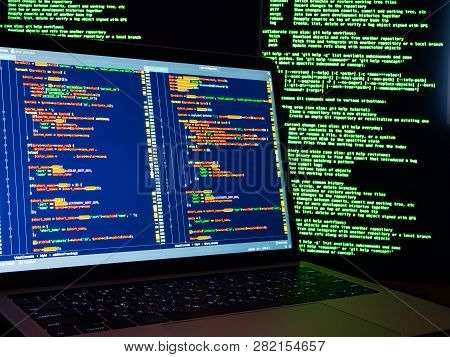 Hacker Scanning Online Passwords Database And Hacking Emails Of Users. Technology Of Cyber Security
