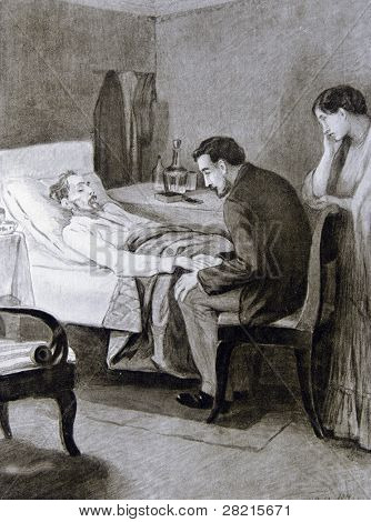 A dying old man -  llustration by M. Shcheglov,