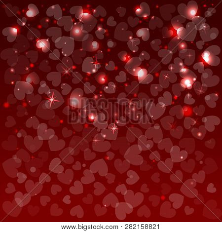 Red Background For Valentine Day. Vector Illustration. Shapes Of Herts.