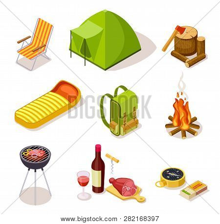 Isometric Camping. Summer Picnic With Fireplace, Tourism Equipment And Tent Surrounded By Forest Tre
