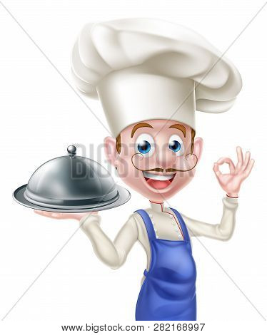 Cartoon Chef Character Holding A Platter Or Cloche And Giving An Okay Or Perfect Food Chef Gesture