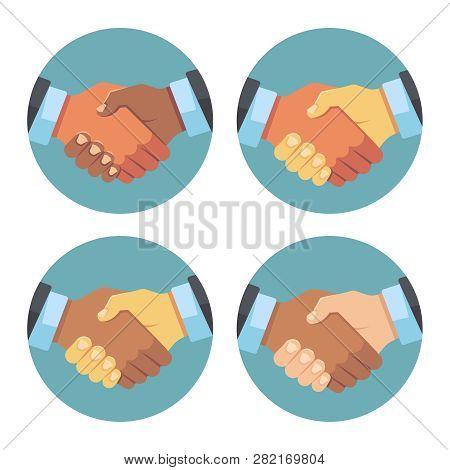 International Business Partnership, Handshake Vector Icons. Illustration Of Partnership Handshake, D