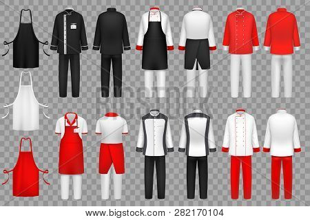 Culinary Clothing. Chef Uniform, Kitchen Textile Clothes Vector Isolated Set. Cloth For Waiter Apron