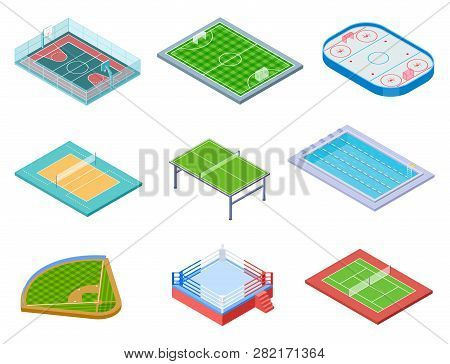 Sport Fields Isometric. Sports Playgrounds Handball Soccer Water Area Baseball Volleyball Tennis Hoc