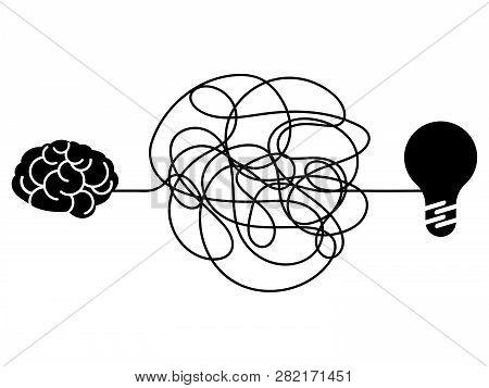 Confused Process, Chaos Line Symbol. Tangled Scribble Idea, Insane Brain Vector Concept. Illustratio