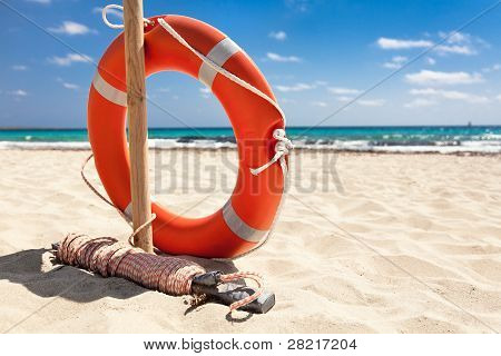 Life buoy on the beach.