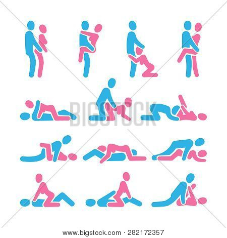 Sexual Position Vector Icons. Sex Positioning Between Man And Woman Couple Pictograms, Kamasutra Vec
