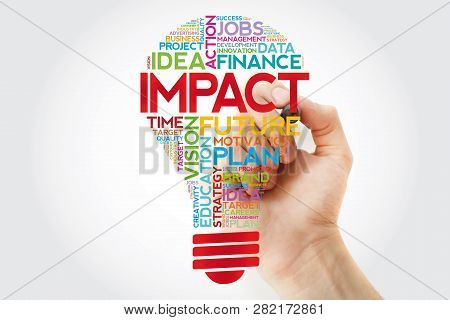 Impact Bulb Word Cloud With Marker, Business Concept