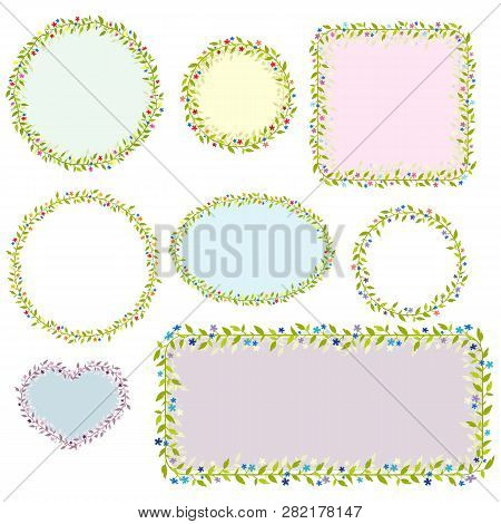 Collection Of Eight Floral Frames. Vector Images. Eps 10