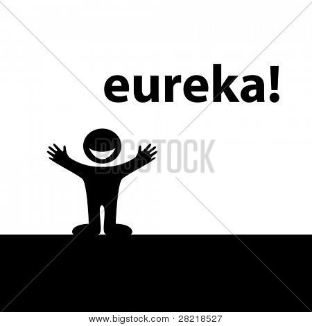 Eureka! Enlightened by the idea of ??a happy person. Vector.
