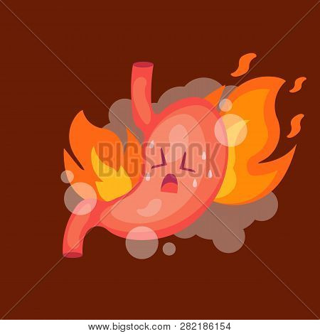 Stomach Heartburn. Stomach With Fire. Isolated On White Background. Vector Illustration.