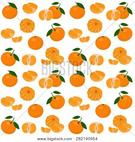 Mandarin, Tangerine, Clementine With Leaves Isolated On White Background. Citrus Fruit Background. S