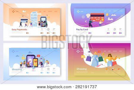 Online Shopping Payment Transaction Landing Page Set. Internet E-commerce Store Sale Technology. Mar
