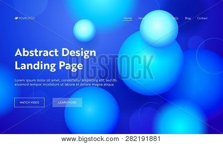 Blue Sphere Abstract Motion Landing Page Background. Futuristic Digital Minimal Orb Gradient Pattern