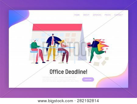 Office Business Manager Work Overtime At Deadline Landing Page. Stress Character Complete Task Under