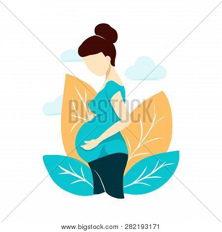 Vector Flat Style Pregnant Woman On White On Mother's Day Card. Composition With Leaves And Clouds.