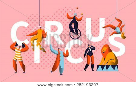 Circus Carnival Show Character Typography Horizontal Poster. Magician And Unicycle Juggler Entertain