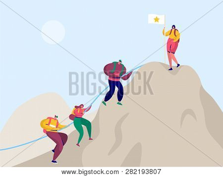 People Climb Rock Mountain To Victory Flag. Sport Adventure Challenge Aim For Climber Character With