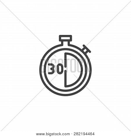 Stopwatch With 30 Minutes Delivery Time Vector Icon. Filled Flat Sign For Mobile Concept And Web Des