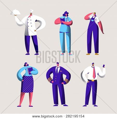 Various Career Worker Set For Labor Day Holiday Banner. People Group In Different Uniform. Chef, Pil