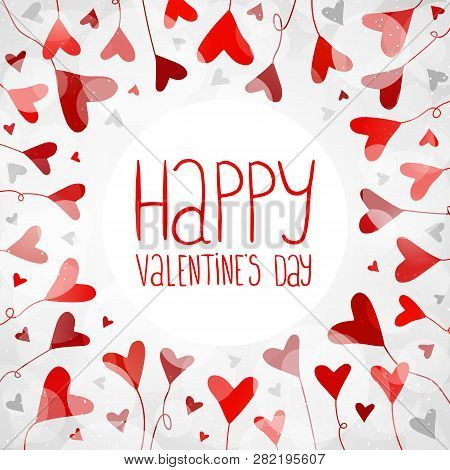 Light Background With Hearts For Valentines Day. Illustration In Vector. You Can Use For Greeting Ca
