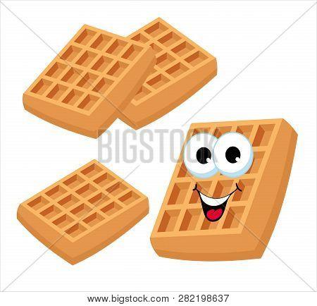 Belgian Waffles Or Viennese Waffles. Cute Cartoon Fast Food Sweet Dessert Raster Character Set Isola