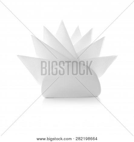 Napkin Holder With Paper Serviettes On White Background