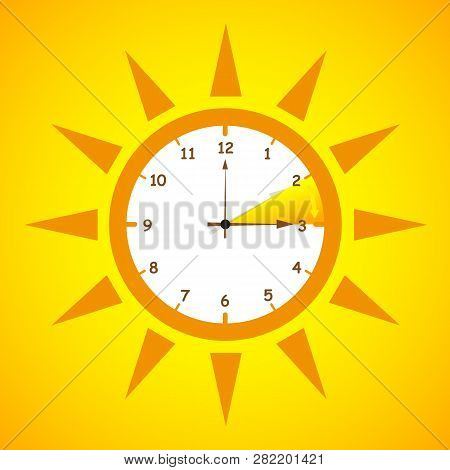 Summer Time Standard Time After Advancing For Daylight Saving Time On Yellow Background Vector Illus