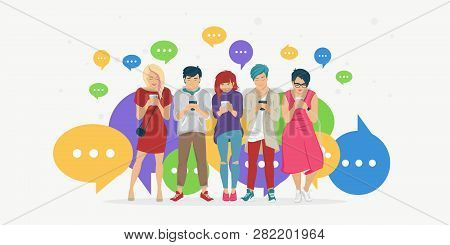 Chat Speech Bubbles For Texting, Leaving Comment And Memes Concept Flat Vector Illustration Of Young