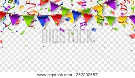 Colorful Buntings, Serpentine And Confetti Isolated On Transparent Background. Vector Illustration.