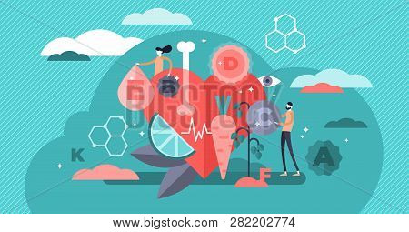 Vitamins Vector Illustration. Flat Tiny Healthy Lifestyle Persons Concept. Fresh Organic Food As Veg