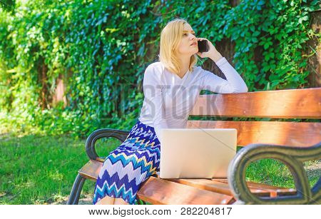 Technologies Making Life Easier. Woman With Laptop Works Outdoors. Business Lady Solving Problems Re