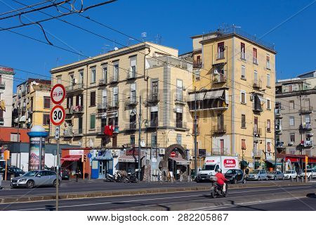 Naples, Italy - November 02, 2015: View To The Residential Buildings In The Non-touristic Part Of Na