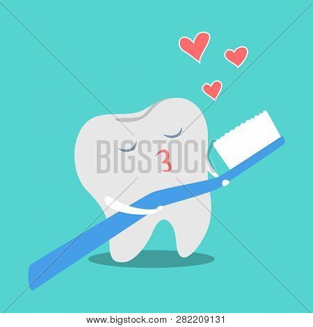Tooth In Love With Toothbrush. Funny Dental
