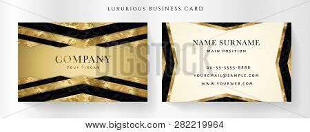 Luxury Golden Business Card Template (gold Vip Gift Card). Art Deco Geometric Background With Black