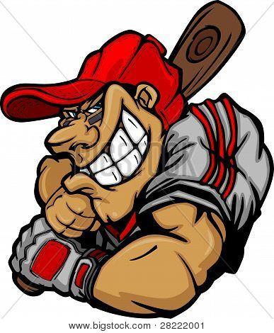 Cartoon Baseball Player Batting Vector Design