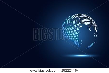 Futuristic Globe Digital Transformation Abstract Technology Background. Big Data Earth And Business
