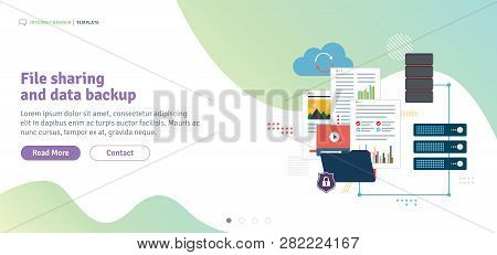 File Sharing And Data Backup. Shared Data, Documents, Videos And Photos. Internet Computer Users Dow