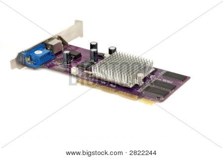 AGP video card isolated on white background poster