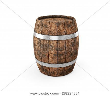Wooden Barrel With Iron Hoops Isolated On White Background. 3d Rendering. Old Barrel With Rust On Th