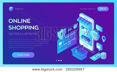 Online Shopping. 3d Isometric Online Store. Shopping Online On Website Or Mobile Application. Concep