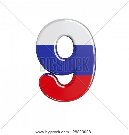 Russian number 9 isolated on white background. This font collection is well-suited for various projects related but not limited to Russia, politics, economics...
