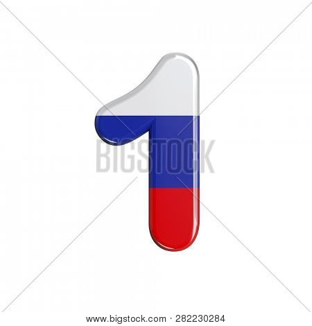 Russian number 1 isolated on white background. This font collection is well-suited for various projects related but not limited to Russia, politics, economics...
