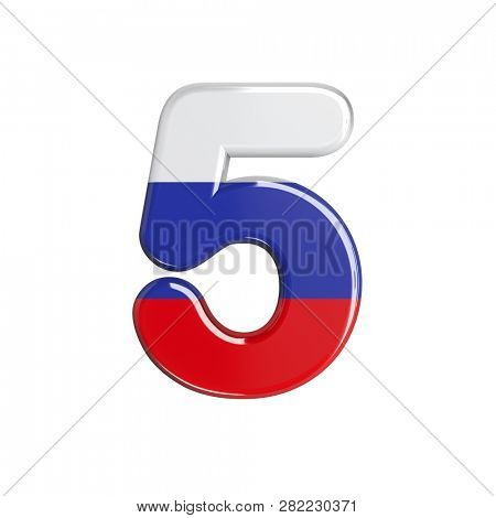 Russian number 5 isolated on white background. This font collection is well-suited for various projects related but not limited to Russia, politics, economics...