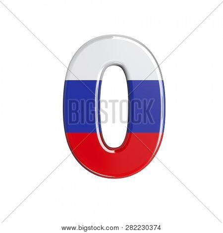 Russian number 0 isolated on white background. This font collection is well-suited for various projects related but not limited to Russia, politics, economics...