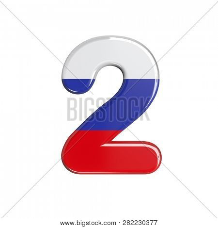 Russian digit 2 isolated on white background. This font collection is well-suited for various projects related but not limited to Russia, politics, economics...
